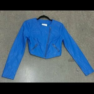 BB Dakota Cobalt Vegan Leather Moto Jacket Sz Sm